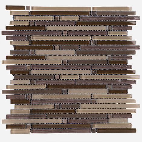 Parker Linear Brown 312x312mm Mosaic Sheet