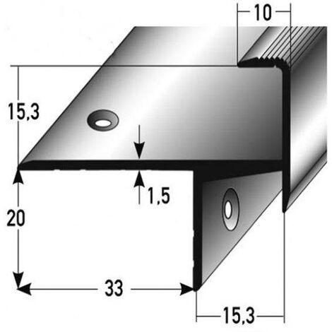 "Parkett-Treppenkante ""Springhill"" / Winkelprofil, Einfasshöhe 15,3 mm, 33 mm breit, Aluminium eloxiert, gebohrt"
