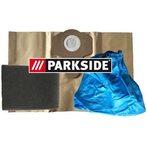 Parkside Jeu de 3 filtres constitué d'1 filtre humide, 1 filtre à sec, 1 sac d'aspirateur indéchirable marron 20 l – Pour aspirateur sec/humide Parkside Lidl PNTS 1250, PNTS 1250/9, PNTS 1300, PNTS 1300A1, PNTS 1300B2, PNTS 1300C3 (tous les modèles de 20