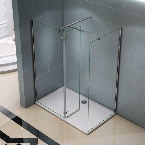Paroi de douche 100cm AICA Sanitaire paroi de douche italienne verre anticalcaire différentes dimensions barre fixation 900mm avec la pince 360¡ã