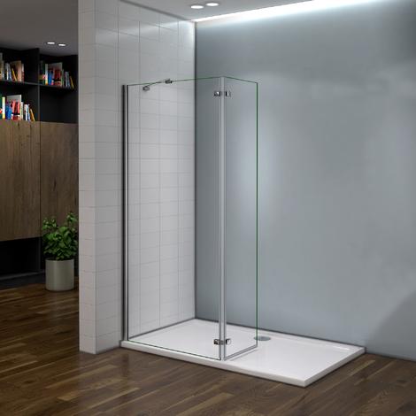 Paroi de douche 100x200cm avec retour pivotante 40cm et barre de fixation