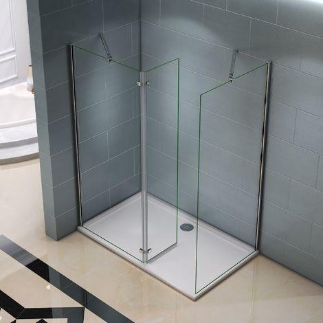 Paroi de douche 1200x1400x8mm paroi de douche italienne verre anticalcaire différentes dimensions avec barre fixation extensible