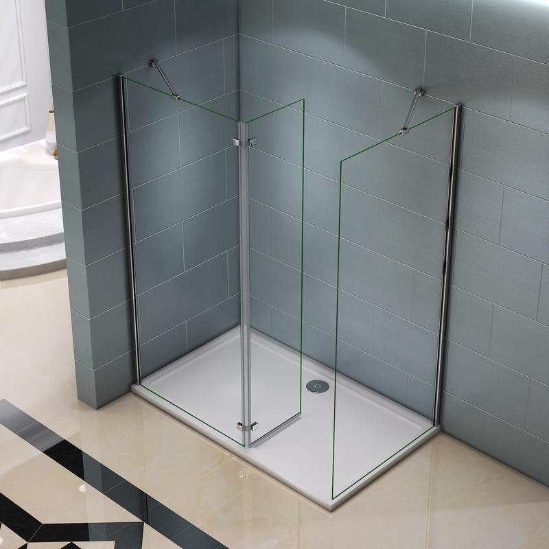 AICA paroi de douche 30x200cm paroi lat/érale en 8mm verre anticalcaire avec barre de fixation extensible 70-120cm