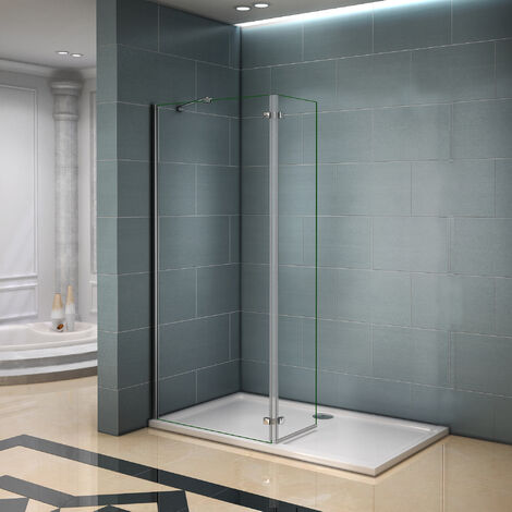 Paroi de douche 120x200cm avec retour pivotante 40cm et barre de fixation la pince 360 degré 140cm verre anticalcaire