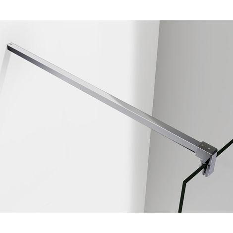 Paroi de douche 120x200cm avec retour pivotante 40cm verre anticalcaire avec barre de fixation la pince 360 degré 90cm