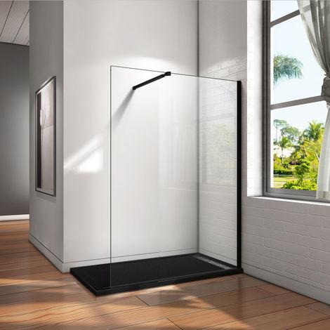 """main image of """"Paroi de douche 200cm en noire mat livré avec une barre de fixation extensible en noire mat"""""""