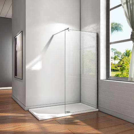 """main image of """"Paroi de douche en verre anticalcaire 120cm Walk in paroi de fixation avec barre de fixation"""""""