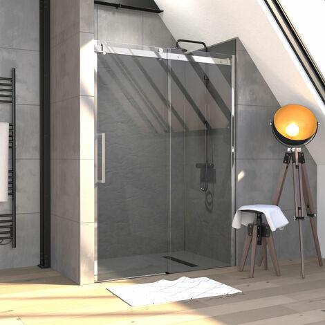 Paroi de douche 140x200 cm + 1 porte coulissante verre trempé 8mm - sens d\'ouverture réversible