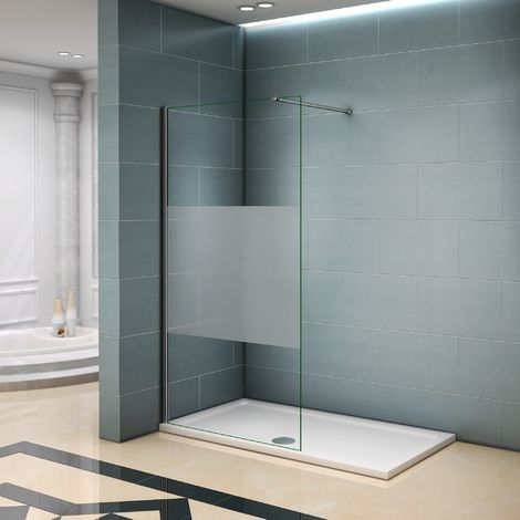 Paroi de douche 140x200 verre satiné au central