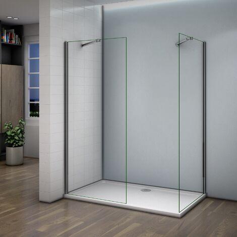 Paroi de douche 140x200cm AICA verre anticalcaire avec 2 barres de extensible cabine de douche