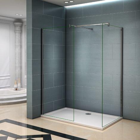 Paroi de douche 140x200cm AICA verre anticalcaire avec 2 barres de fixation 90cm et 140cm cabine de douche