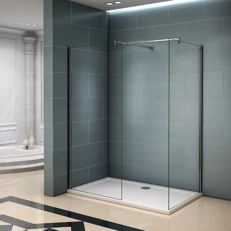 paroi de douche 140x200cm verre anticalcaire avec 2 barres. Black Bedroom Furniture Sets. Home Design Ideas