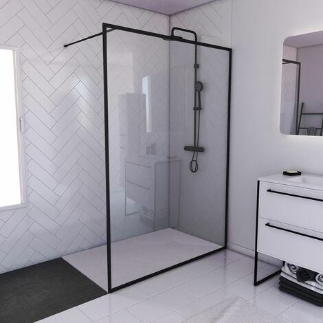 Paroi de douche 140x200cm + receveur a poser - 140x90cm - cadre et barre noir mat - CONTOURING 120