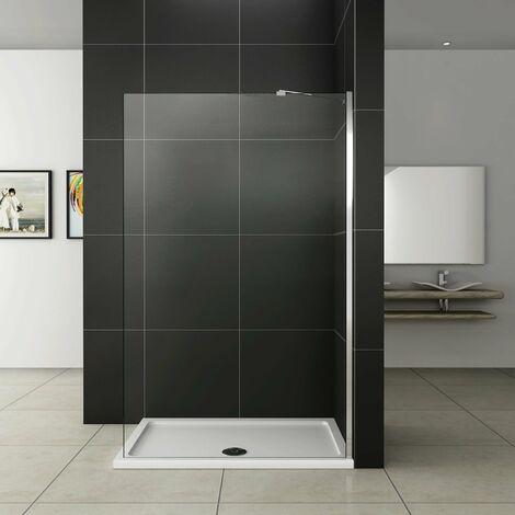 Paroi de douche 160x200cm avec barre de fixation paroi de douche à l'italienne AICA verre anticalcaire