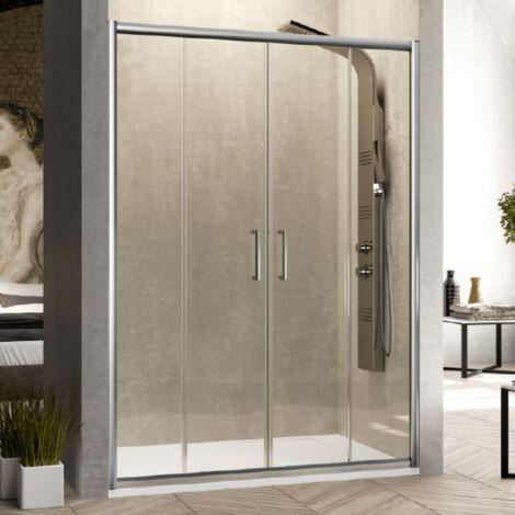 Paroi de douche 2 verres fixes + 2 portes coulissantes BELLA 155 cm Sans paroi latérale - Verre