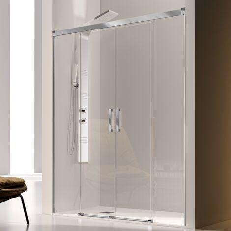 Paroi de douche 2 verres fixes + 2 portes coulissantes GLASÉ 135 cm - Verre