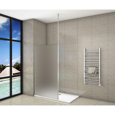 Paroi de douche 200cm en 8mm verre anticalcaire et sablé et livré une barre de fixé à plafond