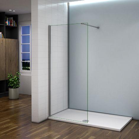 Paroi de douche 80x200cm avec barre de fixation paroi de douche à l'italienne AICA verre anticalcaire