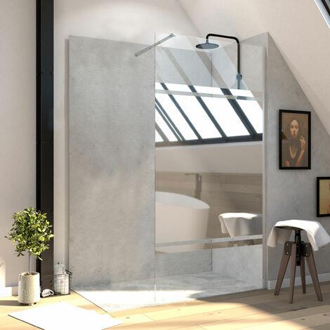 Paroi de douche 90x200 cm a l\'italienne avec bras de fixation extensible - verre 8mm - bande miroir