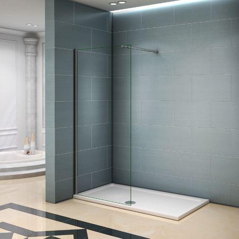 Paroi de douche 90x200cm avec barre de fixation paroi de douche à l'italienne AICA verre anticalcaire
