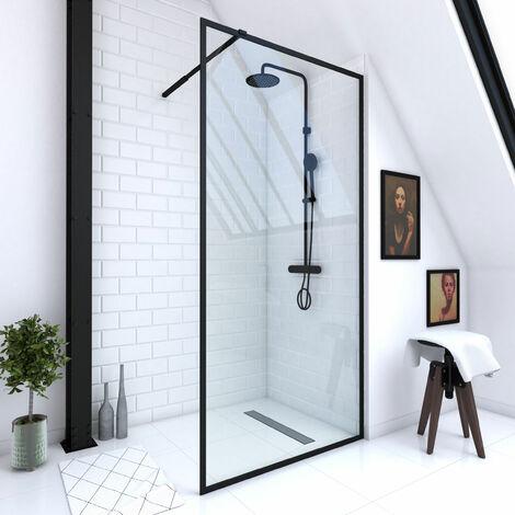 Paroi de douche à l'italienne 100x200cm verre trempé 6mm - cadre et barre de fixation ajustable NOIR MAT - CONTOURING 100