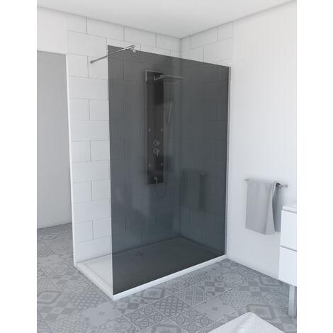 """main image of """"Paroi de douche a l'italienne 140x200cm verre fume 8mm avec bras de maintient en inox extensible"""""""