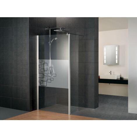 Paroi de douche à l'italienne avec retour pivotant, verre 5/6 mm anticalcaire, paroi fixe Walk In décor Softcube, Style 2.0, Schulte, 3 largeurs au choix