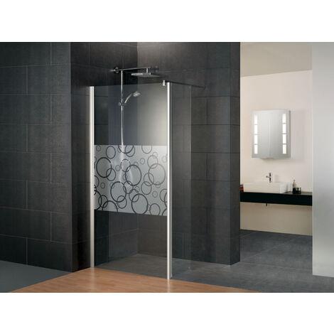 Paroi de douche à l'italienne avec retour pivotant, verre 5 mm anticalcaire, paroi fixe Walk In décor cercles, Style 2.0, Schulte, 3 largeurs au choix