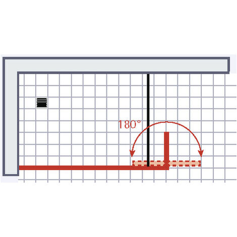 Paroi de douche à l'italienne avec retour pivotant, verre 6 mm anticalcaire, paroi de douche, Solo, Schulte, 100 x 35 x 200 cm