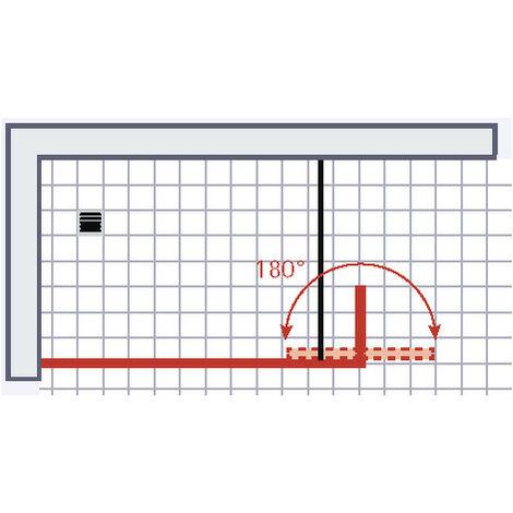 Paroi de douche à l'italienne avec retour pivotant, verre 6 mm anticalcaire, paroi de douche, Solo, Schulte, 120 x 35 x 200 cm