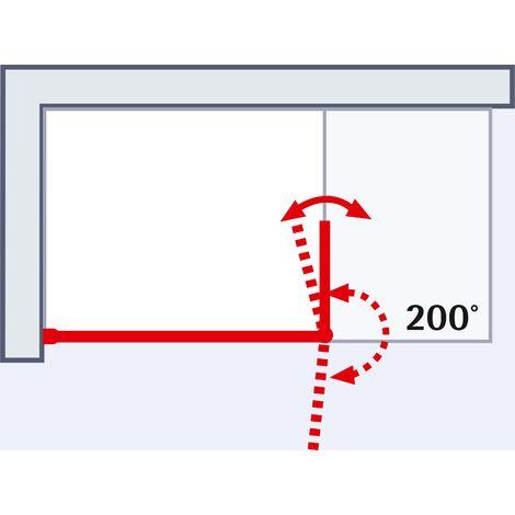 Paroi de douche à l'italienne avec retour pivotant, verre 6 mm anticalcaire, paroi de douche, Solo, Schulte, 3 dimensions au choix