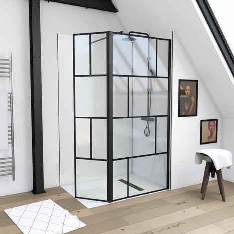 Paroi de douche à l'italienne avec retour - sérigraphie type brique - dim. 90x195cm + 40x195cm - Profilé noir mat - verre transparent 5mm - BLOCKS 90R