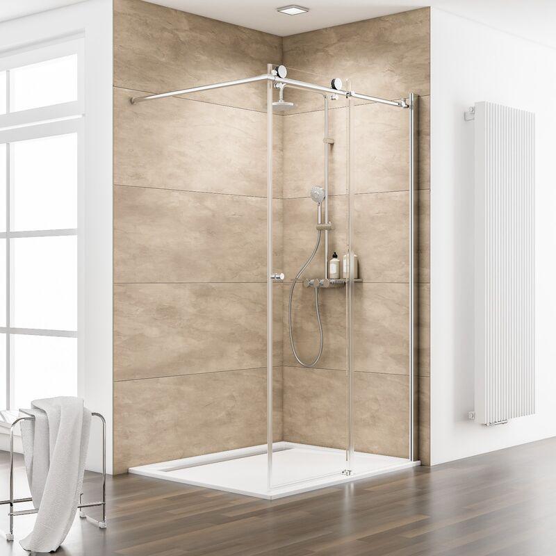 Paroi de douche l 39 italienne coulissante 120 x 200 cm - Paroi vitree douche italienne ...