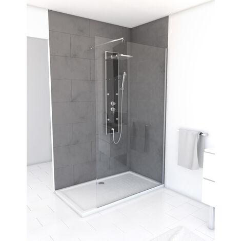 Paroi de douche à l'italienne FREEDOM 120x200cm avec bras de maintient en inox extensible 80-100 cm