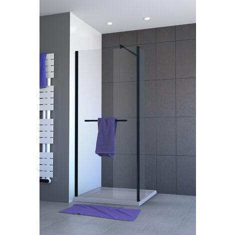 paroi de douche l 39 italienne noire mat avec pivot 90. Black Bedroom Furniture Sets. Home Design Ideas