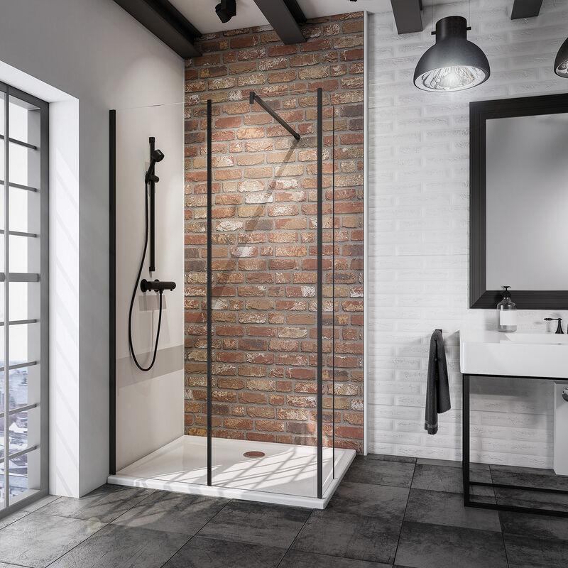 Paroi de douche 50x200cm avec un volet retour en 40cm paroi de douche /à litalienne avec une barre de fixation extensible