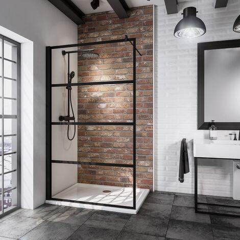 Paroi de douche à l'italienne, profilé noir à clipser, NewStyle Atelier Schulte, paroi fixe Walk In style industriel, verre 5 mm anticalcaire, 120 x 200 cm