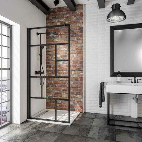 Paroi de douche à l'italienne, profilé noir à clipser, paroi fixe Walk In style industriel, NewStyle Atelier Schulte, verre 6 mm anticalcaire, 100 x 200 cm - Noir