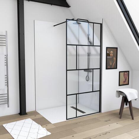 Paroi de douche à l'italienne sérigraphie type brique - dim. 100x195cm - Profilé noir mat - verre transparent 5mm - BLOCKS 100