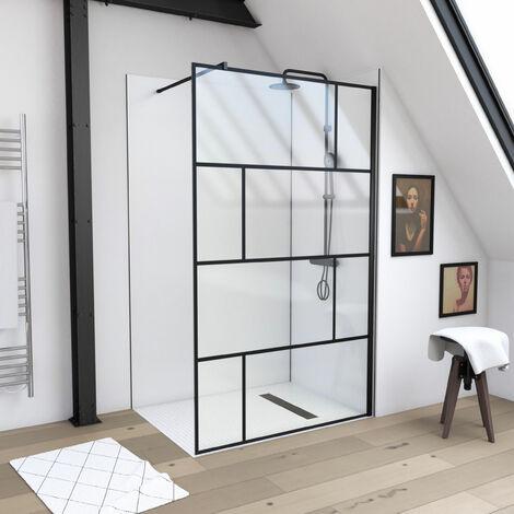 Paroi de douche à l'italienne sérigraphie type brique - dim. 120x195cm - Profilé noir mat - verre transparent 5mm - BLOCKS 120