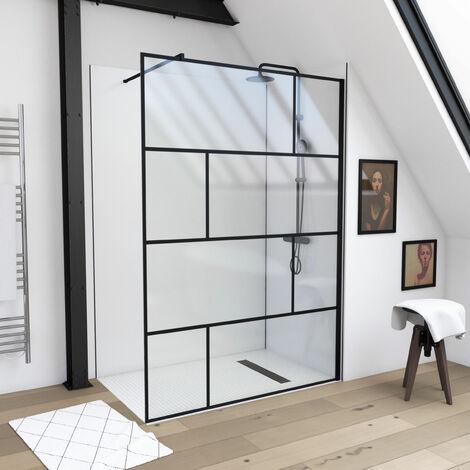 Paroi de douche à l'italienne sérigraphie type brique - dim. 140x195cm - Profilé noir mat - verre transparent 5mm - BLOCKS 140