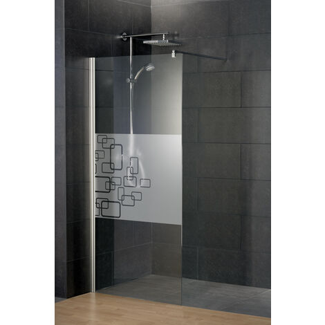 Paroi de douche à l'italienne, verre 5/6 mm anticalcaire, décor Softcube, Style 2.0, Schulte, 3 largeurs au choix
