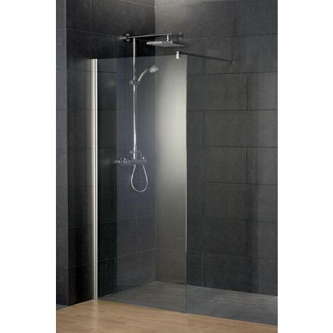 Paroi de douche à l'italienne, verre 5/6 mm, paroi fixe Walk In, profilé aspect chromé, Style, Schulte, 3 dimensions au choix
