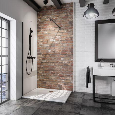 Paroi de douche à l'italienne, verre 5 mm anticalcaire, profilé noir, paroi fixe Walk In style industriel, NewStyle Atelier Schulte, dimensions au choix