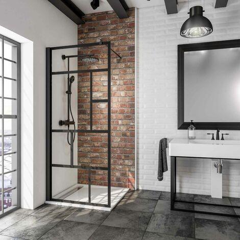 Paroi de douche à l\'italienne, verre 6 mm anticalcaire, paroi fixe Walk In style industriel, profilé noir, NewStyle Atelier Schulte