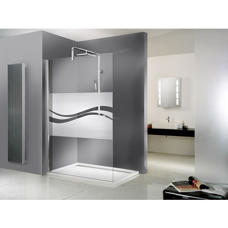 Paroi de douche à l'italienne, verre 6 mm, paroi fixe Walk In Free Schulte, décor Liane, traitement anticalcaire, 120 x 200 cm - Décor liane