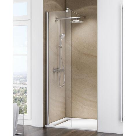 Paroi de douche à l'italienne, verre 6 mm transparent anticalcaire, paroi fixe Walk In Free Schulte, 140 x 200 cm