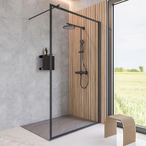 Paroi de douche à l'italienne, verre 6 mm transparent, paroi fixe Walk In style industriel, profilé noir, encadrement noir, dimensions aux choix