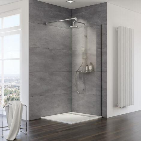 Paroi de douche à l'italienne Walk In MasterClass, verre 10 mm, traitement anticalcaire, profilé aspect chromé