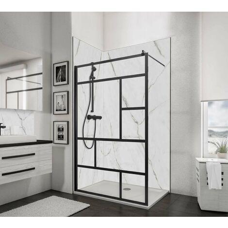 Paroi de douche à l'italienne Walk in NewStyle Atelier, profilé noir, traitement anticalcaire, 120x190cm, Schulte